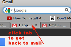get back to a gmail message after printing