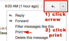 print one gmail mail message